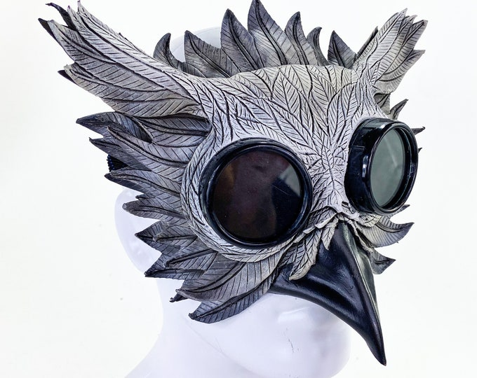 Horned Owl Goggles Handmade Genuine Leather Mask
