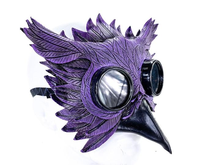 Purple Horned Owl Goggles Handmade Genuine Leather Mask