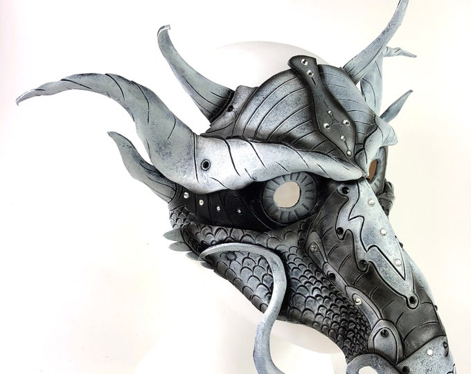 Grey Ancient Dragon Leather Mask with Swarovski Crystals