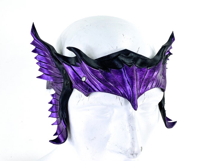 Masquerade Crown of Handmade Genuine Leather in  Purple and Black