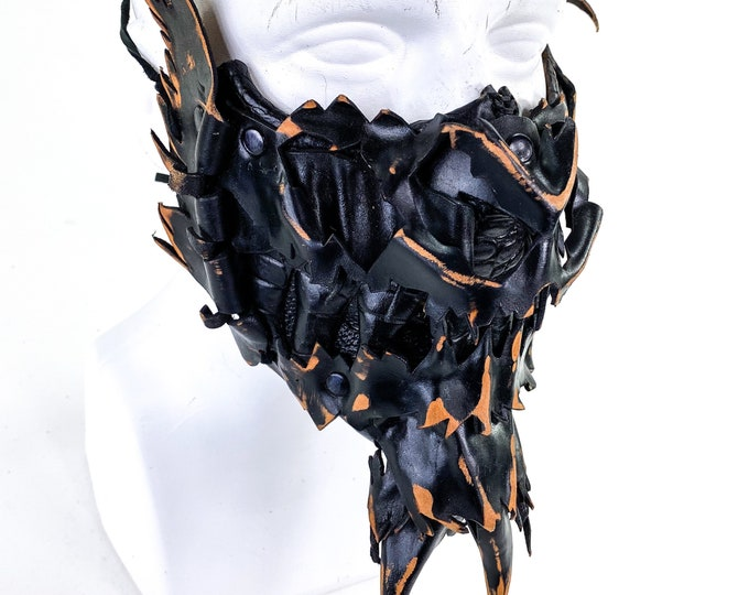 Scraps  - One of a Kind Handmade Leather Mask Made entirely from Scrap Leather Pieces