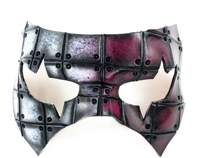 Handmade Genuine Leather Mask in Raspberry and White