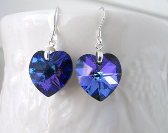 Heart Earrings, Heliotrophe Earrings, Purple Blue Earrings, Swarovski Earrings, Valentine Earrings, Birthday, Mother Day, Free US Shipping