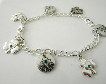 Charm Bracelet St Patty Bracelet Lucky Bracelet Clover Bracelet St Patty Gift luck Of The Irish Free Us Shipping