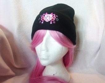 Neon Kitsune Black Beanie    Kawaii Accessories Hat