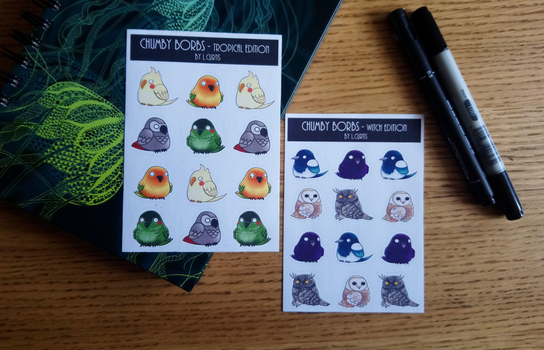 Chumby Borbs Mini Sticker sheet   Cute Chunk bird stickers    Magpie Crow  Owls Parrots Cockatiel   Birbs Birds Orbs
