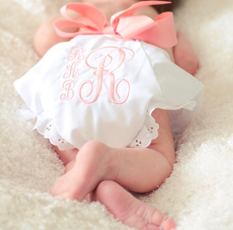 DIAPER COVER BLOOMERS with Bow and Monogram