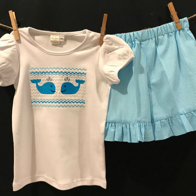 GIRLS RUFFLE SHORTS Set Gingham Short Set Faux Smocked Shirt and Gingham Shorts