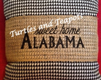 """Houndstooth with Burlap Accent Pillow """"sweet home Alabama"""""""