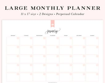 "Large Printable Calendar, Undated Calendar Printable, Monthly Planner, Perpetual Calendar, Month at a glance, 11x17"" INSTANT DOWNLOAD"
