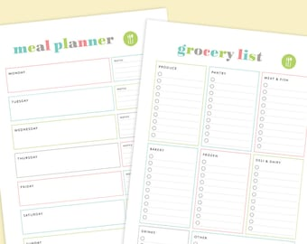 meal planner grocery list printable menu planner printable etsy