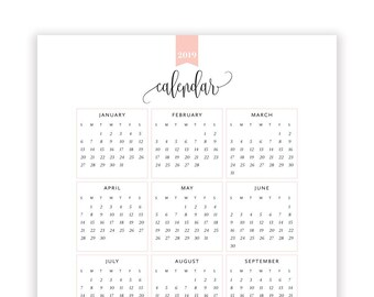 2018 year at a glance calendar year printable planner yearly etsy