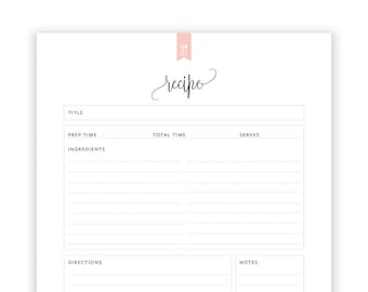 recipe book template etsy