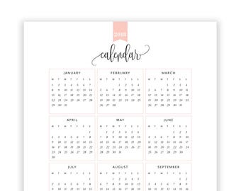 2018 printable calendar monthly planner printable month at a etsy