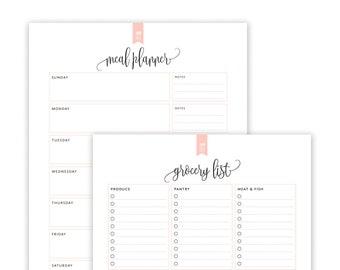 Meal Planner & Grocery List Printable, Menu Planner Printable, Shopping List Printable, Meal Plan Printable, INSTANT DOWNLOAD PDF (Taylor)