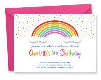 Rainbow Birthday Party Invitation Digital Printable Invite Color Unicorn