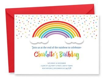 Rainbow Birthday Party Invitation Digital Printable Invite Color DIY