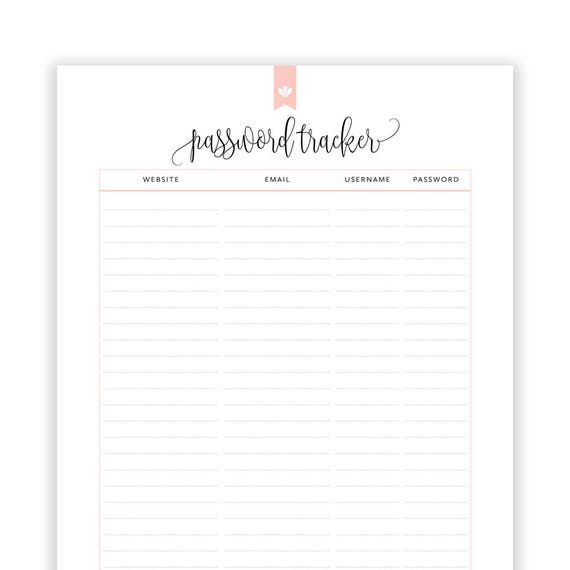 Password Tracker Printable Editable Password Printable Etsy