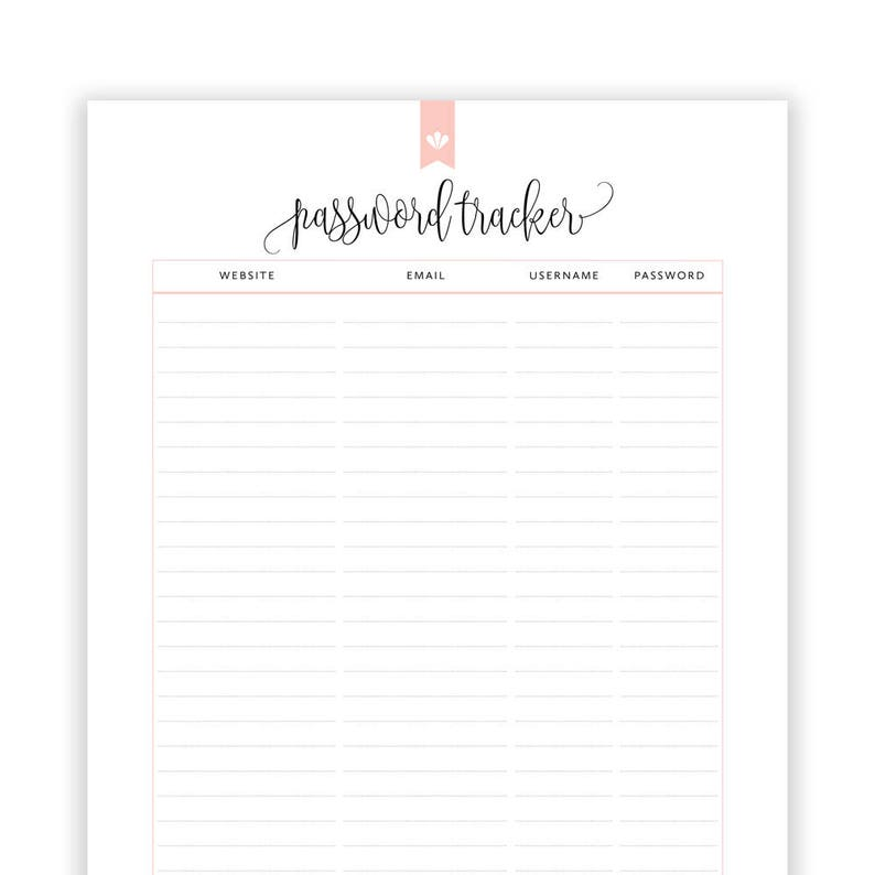 graphic about Password Printable titled Pword Tracker Printable, Editable Pword Printable, Pword Keeper, Pword E-book, Pword Log, Residence Binder, Instantaneous Obtain