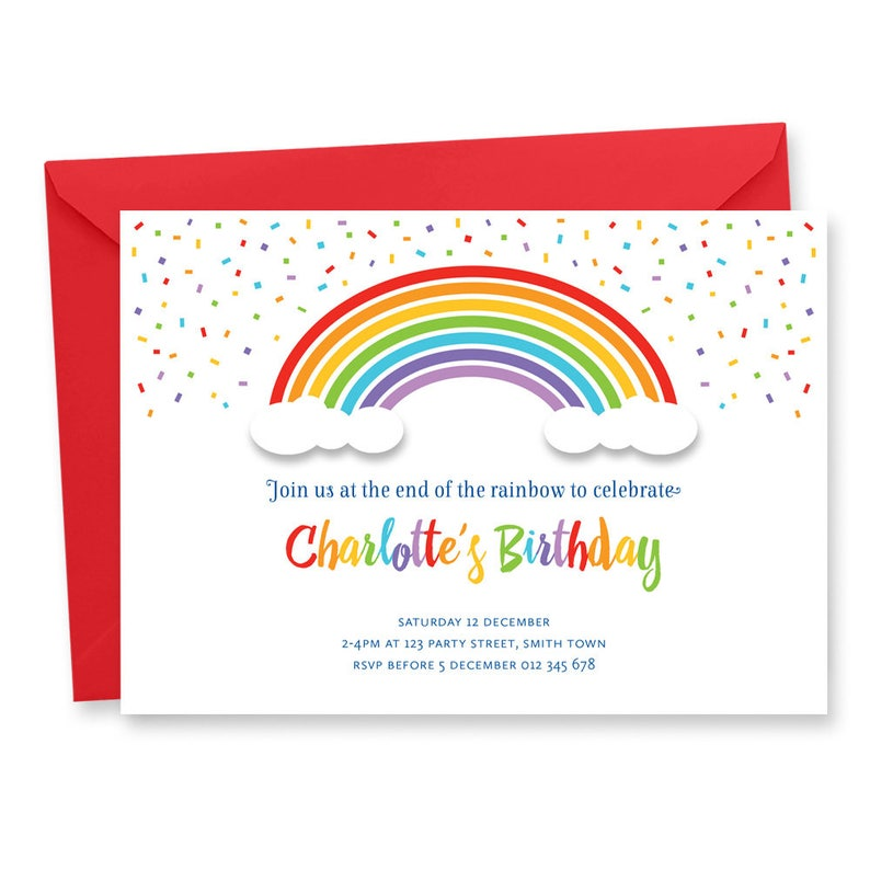 Rainbow Birthday Party Invitation Digital Printable