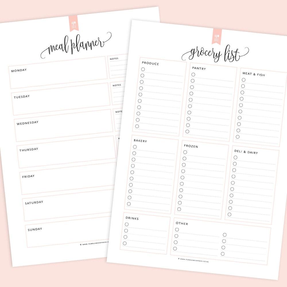 meal planner & grocery list printable menu planner printable | etsy