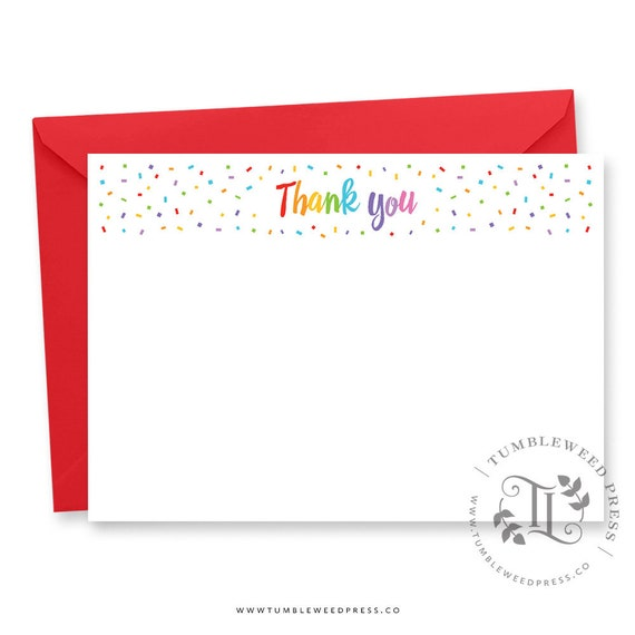 image relating to Printable Thank You Note named Rainbow Confetti Thank Yourself Notice Printable, Rainbow Thankyou card Printable, Thank By yourself Printable Notecard