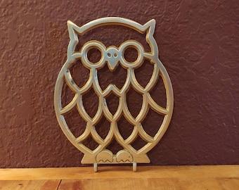 Brass Owl Trivet
