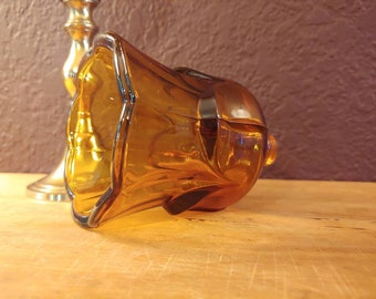 Vintage Votive Cup Candle Holder, Amber Colored Tulip Style glass candlestick attachment
