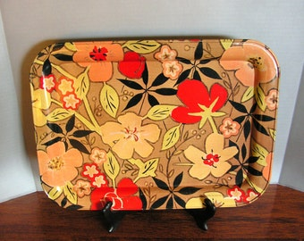 Floral Tray, metal serving tray, vintage tiki bar