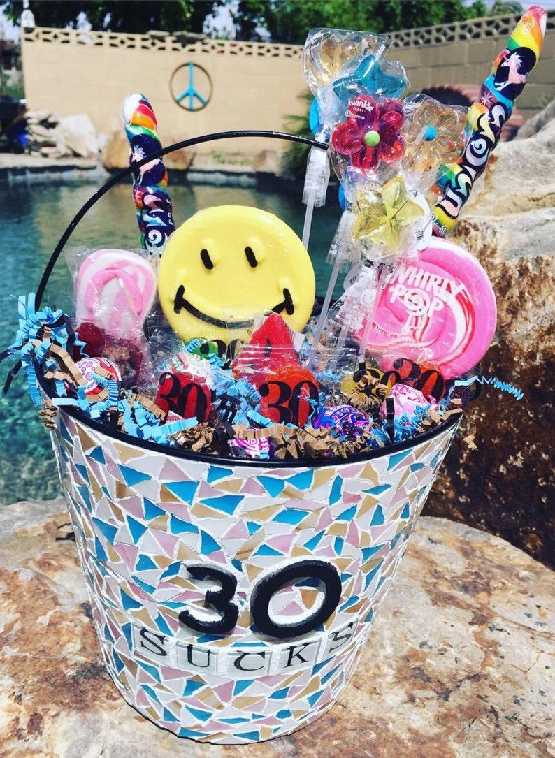 Aging Sucks Mosaic Birthday Bucket Of Suckers Customized