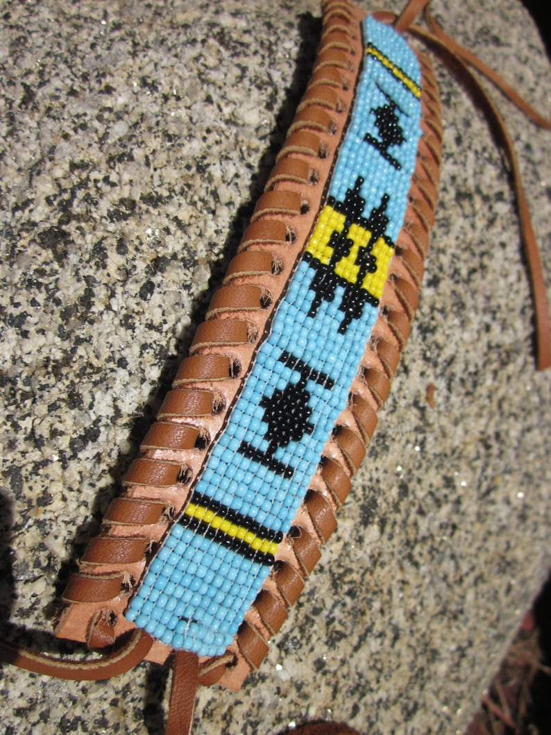 e25bf15130c Loomed Indian Seed Beaded Bracelet on Woven Leather Cuff .
