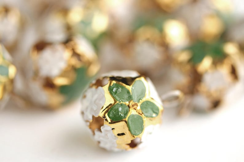 Green Poinsettia Bells Gold Bells Round Bell Charms with Enameled Green Flowers Christmas Flower Bells Christmas Bells 23mm x 17mm