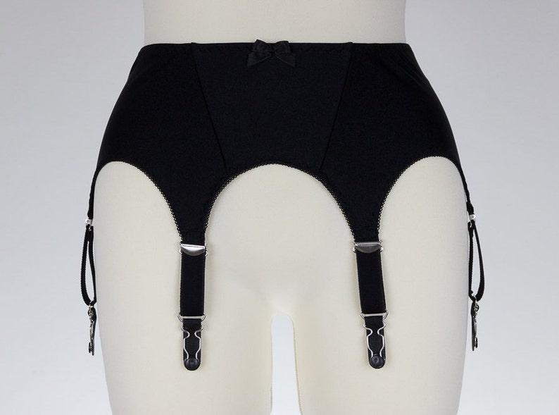 05564319066 6 strap Garter belt NINA in Black White Beige Blue Pink Cream