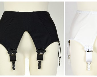 Black or White IRIS Garter Belt Wide Deep V Style Suspender Belt Size XS-4XL