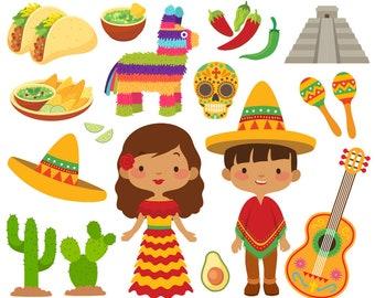 Mexican clip art Cinco de Mayo clipart Fiesta clipart Sombrero Taco Mexican Fiesta graphics Digital Mexican Party Clip Art Pinata Maracas