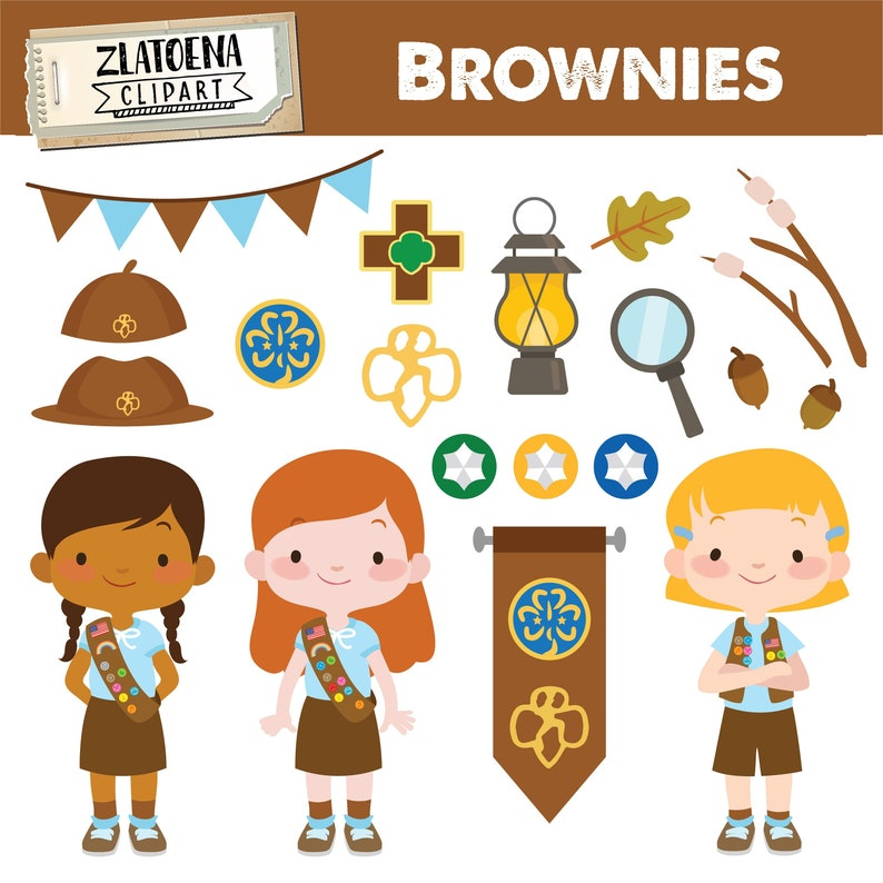 Brownie Girl Scout Clipart Scout Girl Clip Art Camping Digital Etsy
