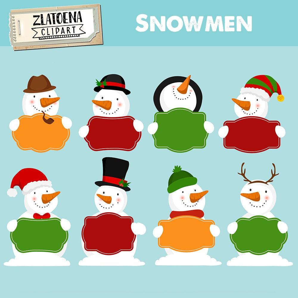 Glücklich Weihnachten Schneemann Clipart ClipArt | Etsy