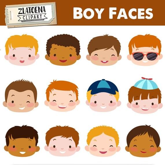 cef5232f4 Cute Boy Faces clipart Kids Faces Digital Clipart Cute Kids