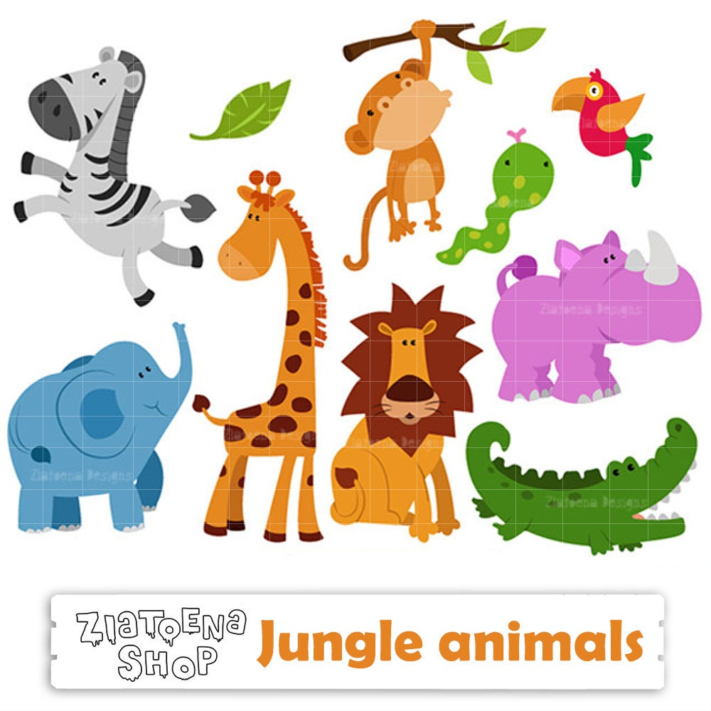zoo animals clipart jungle animals digital safari clip art zoo etsy rh etsy com clipart zoo animals preschool clipart zoo animals to color