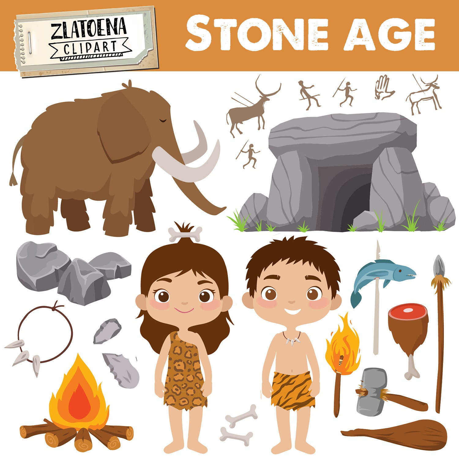 Prehistoric clipart Stone age clipart Ice age graphics ...