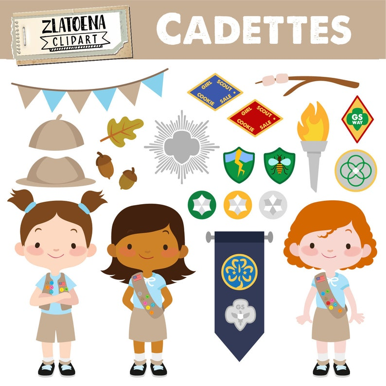 Cadettes Clip Art Scout Girl Clip Art Camping Digital Kids Etsy