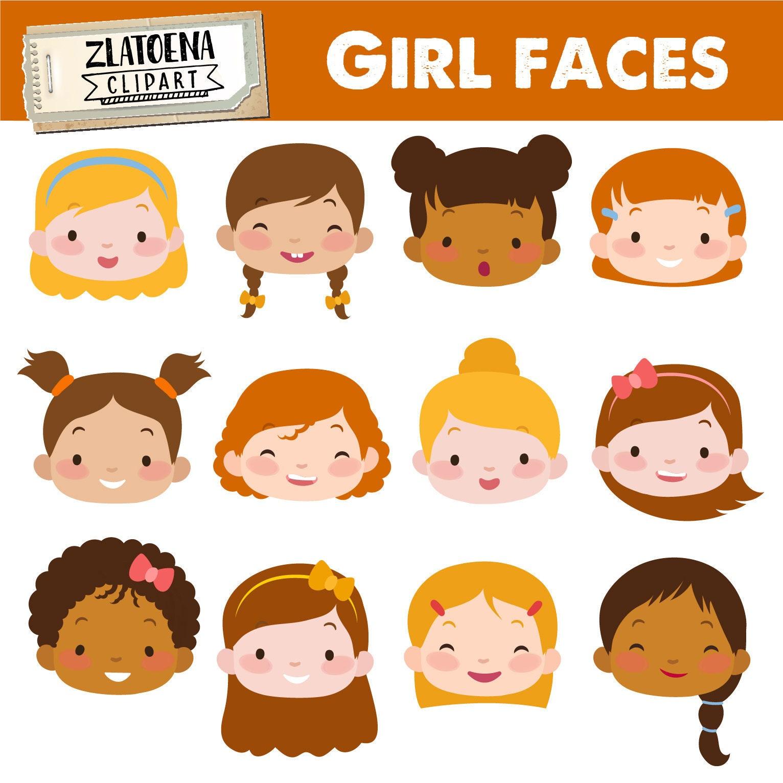 1e6a092d7 Cute Girl Faces clipart Kids Faces Digital Clipart Cute Kids