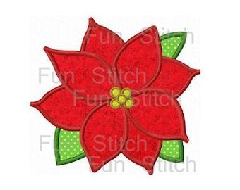 Christmas poinsettia flower applique machine embroidery design