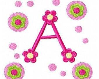 daisy flower letters machine embroidery design