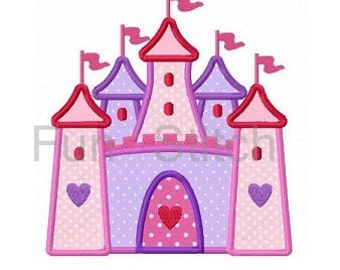 Princess castle applique machine embroidery design