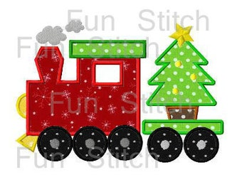 Christmas train with tree applique machine embroidery design