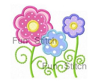 Three daisy flowers applique machine embroidery design
