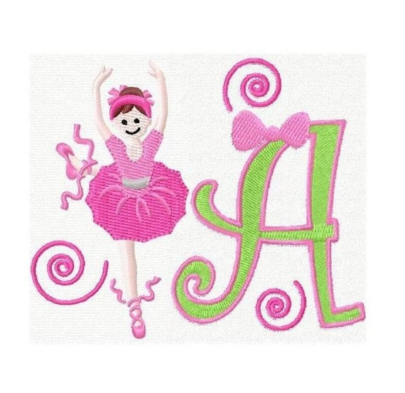 26 letras de fuente de bailarina de ballet diseños del bordado | Etsy