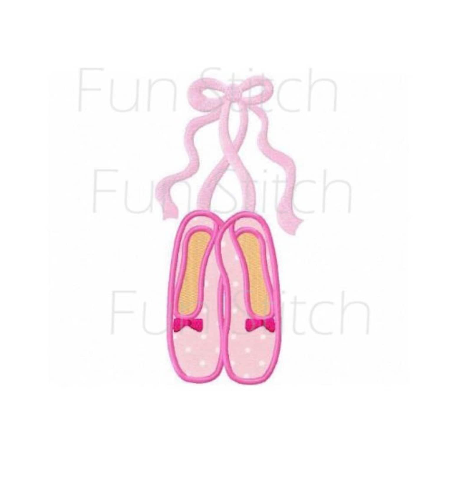 ballet slippers applique ballerina machine embroidery design instant download