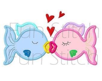 love fish applique machine embroidery design instant download